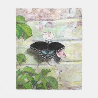 Butterfly on wall throw fleece blanket