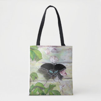 Butterfly on wall tote bag