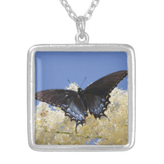 Butterfly On White Flowers Silver Plated Necklace
