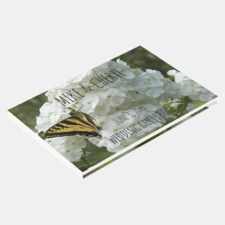 Butterfly on White Phlox Personalized Wedding Guest Book