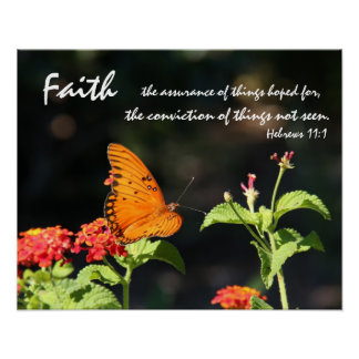 Butterfly on Wildflowers, Scripture Verse on Faith Poster