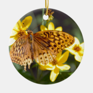 Butterfly on Yellow Flower Photo Round Ceramic Decoration