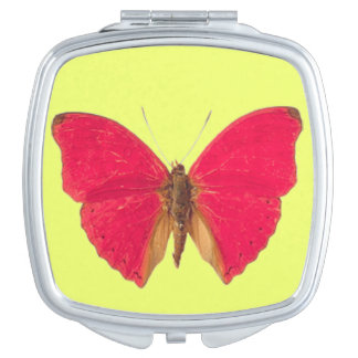 Butterfly on Yellow Pattern Compact Mirror