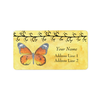 Butterfly on Yellow Watercolor Address Label