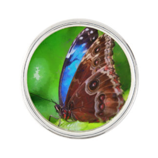 Butterfly painting lapel pin
