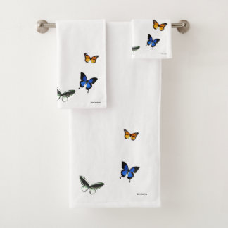 Butterfly Pattern Bathroom Towel Set