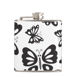 Butterfly Pattern - Black and White Hip Flask