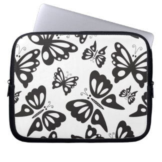 Butterfly Pattern - Black and White Laptop Sleeve