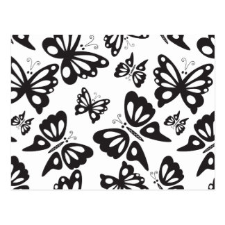 Butterfly Pattern - Black and White Postcard