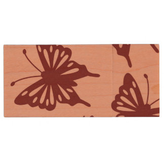 butterfly pattern wood USB 2.0 flash drive