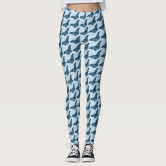 Butterfly Pattern on Blue or Custom Color Leggings