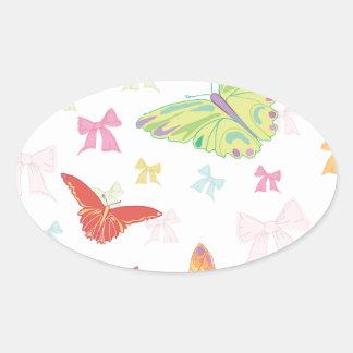 Butterfly pattern oval sticker