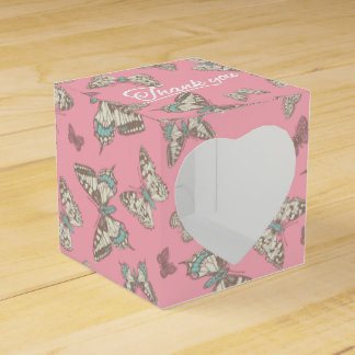 Butterfly pattern pink thank you wedding favor box party favour boxes