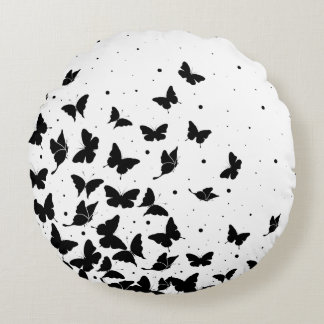 Butterfly pattern round cushion