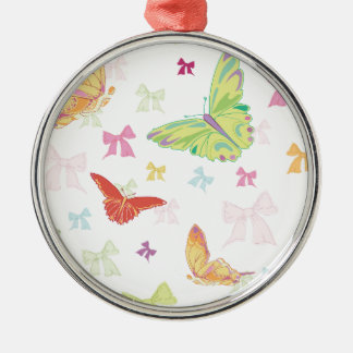 Butterfly pattern Silver-Colored round decoration