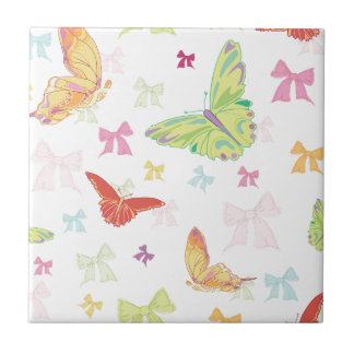 Butterfly pattern small square tile