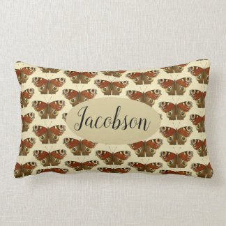 Butterfly Pattern Tan Vintage Name Accent Pillow