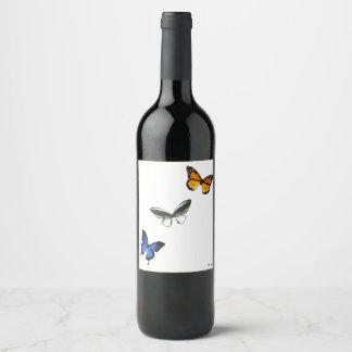 Butterfly Pattern Wine/Champagne Bottle Label