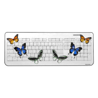 Butterfly Pattern Wireless Computer Keyboard