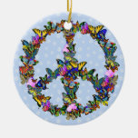 Butterfly Peace Symbol Christmas Tree Ornament