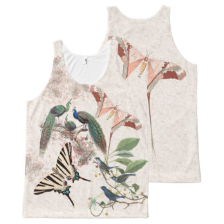Butterfly Peacock Birds Wildlife Animals Tank Top