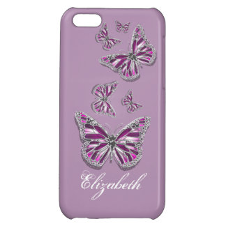 Butterfly PERSONALIZED girly pink purple silver iPhone 5C Case