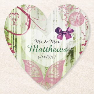 Butterfly Personalized Wedding Heart Coasters