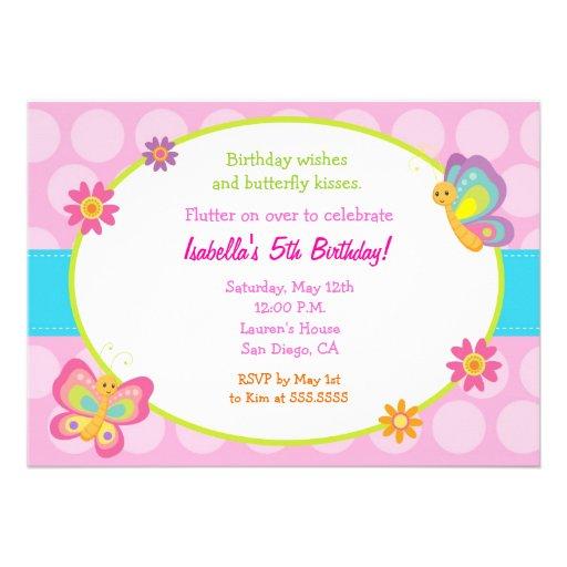 Butterfly Photo Birthday Invitation