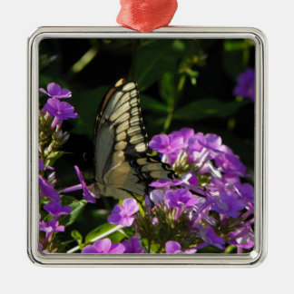 Butterfly Photo Gift Silver-Colored Square Decoration