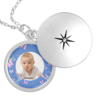 Butterfly/Photo Round Locket Necklace