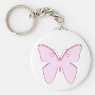 butterfly pink basic round button key ring