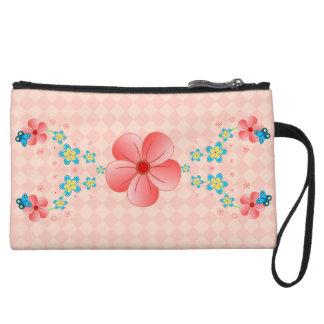 Butterfly Pink Blue Flowers Key Mini Clutch Purses Wristlet Purses