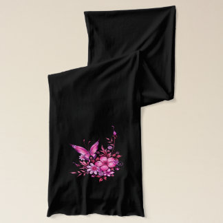 Butterfly Pink Floral Flowers on Black Scarf