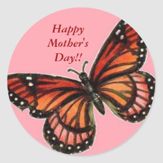 butterfly pink, Happy Mother's Day!! Classic Round Sticker