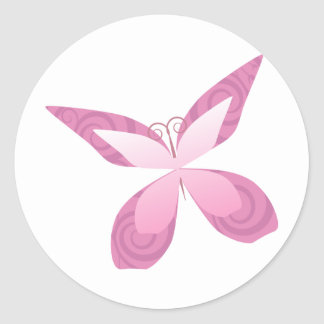 Butterfly Pink Ribbon Classic Round Sticker