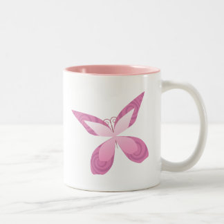 Butterfly Pink Ribbon Two-Tone Mug