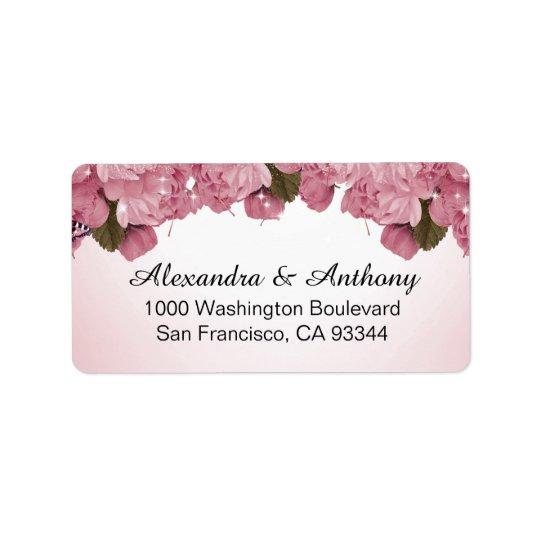 Butterfly Pink Roses Wedding Return Address Label