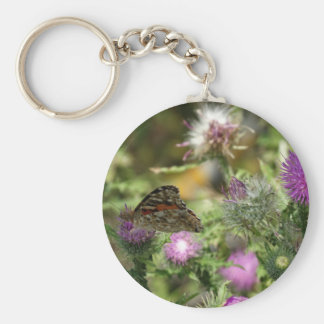 Butterfly Pink Thorn Photo  Key Ring Basic Round Button Key Ring