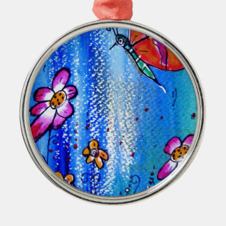 Butterfly -pixi-art.com Silver-Colored round decoration