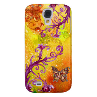 BUTTERFLY PLANT / MAGIC SWIRLS IN SPARKLE Yellow Galaxy S4 Cover