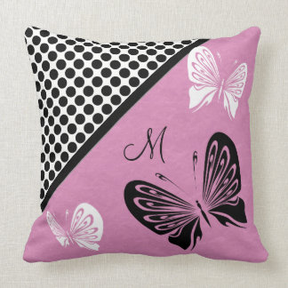Butterfly Polka dot on Pink Monogram Throw Pillow