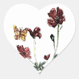Butterfly Poppy Flowers Illustration Heart Sticker