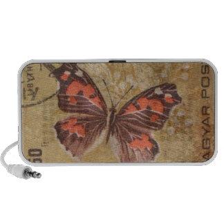 Butterfly Postage Stamp, dirty, vintage postage Travelling Speaker
