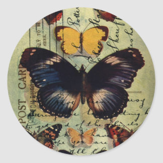 Butterfly Postcard Round Sticker
