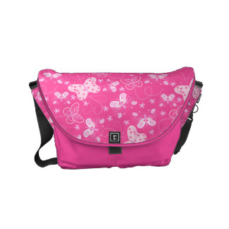 Butterfly printed embroidery commuter bags