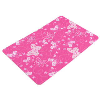 Butterfly printed embroidery floor mat