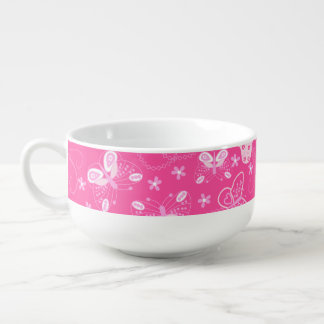 Butterfly printed embroidery soup mug