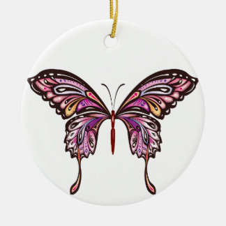 butterfly purple and pink love ceramic ornament