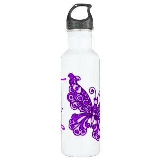Butterfly purple kids named drinks bottle 710 ml water bottle