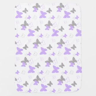 Butterfly Purple Lavender Baby Girl Birth Stats Baby Blanket
